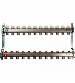 Коллектор Stout из нержавеющей стал с запорными клапанами 1/3/4x12, SMS 0922 000012