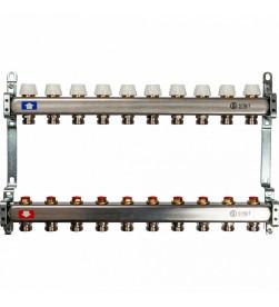 Коллектор Stout из нержавеющей стал с запорными клапанами 1/3/4x10, SMS 0922 000010