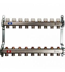 Коллектор Stout из нержавеющей стал с запорными клапанами 1/3/4x9, SMS 0922 000009