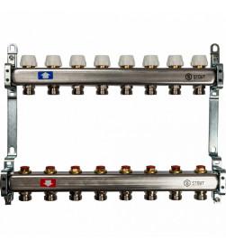 Коллектор Stout из нержавеющей стал с запорными клапанами 1/3/4x8, SMS 0922 000008