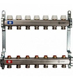 Коллектор Stout из нержавеющей стал с запорными клапанами 1/3/4x7, SMS 0922 000007