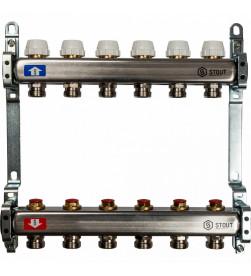 Коллектор Stout из нержавеющей стал с запорными клапанами 1/3/4x6, SMS 0922 000006