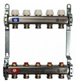 Коллектор Stout из нержавеющей стал с запорными клапанами 1/3/4x5, SMS 0922 000005