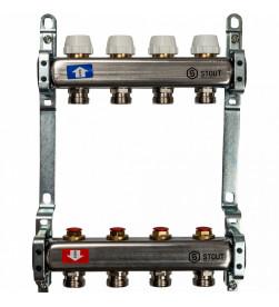 Коллектор Stout из нержавеющей стал с запорными клапанами 1/3/4x4, SMS 0922 000004